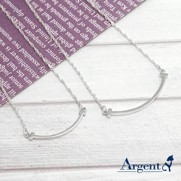 「微笑(大+小)」造型純銀項鍊銀飾