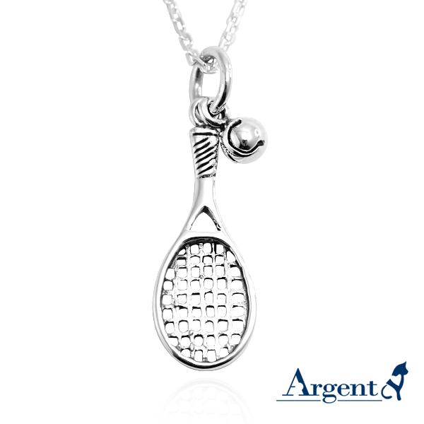 網球拍造型(含小網球)純銀項鍊銀飾|運動品造型項鍊