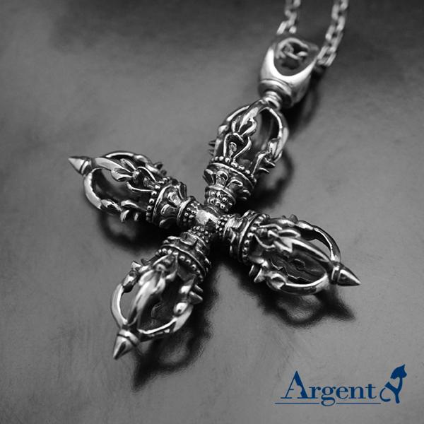 「十字金剛杵」宗教風格純銀項鍊|銀項鍊推薦