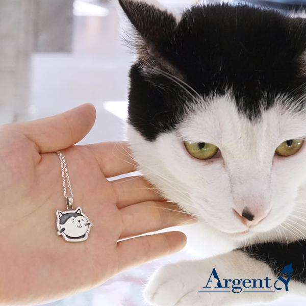 乳牛貓點點-染黑-造型動物雕刻純銀項鍊銀飾