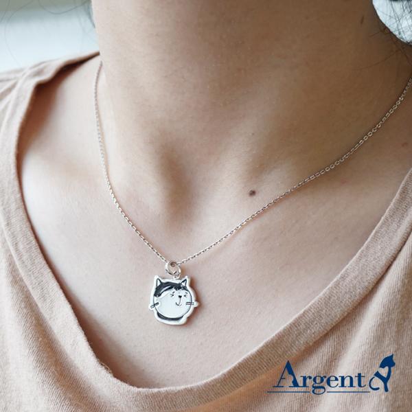 乳牛貓點點-琺瑯-造型動物雕刻純銀項鍊銀飾