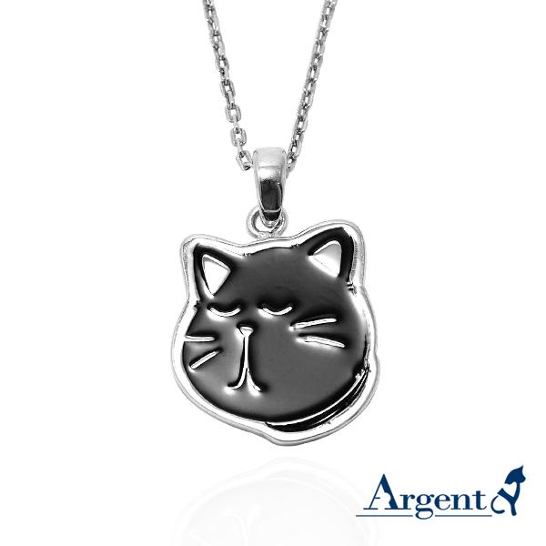黑貓小黑-琺瑯-造型動物雕刻純銀項鍊銀飾