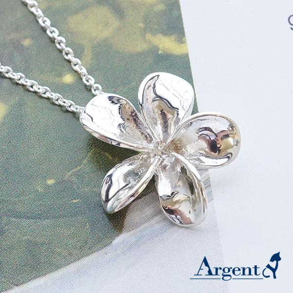 「茶花」立體純銀項鍊銀飾