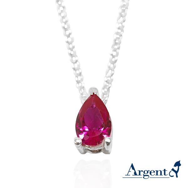 「彩虹之淚-紅色鑽」純銀項鍊銀飾