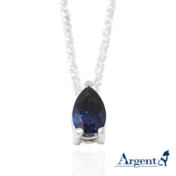「彩虹之淚-寶藍色鑽」純銀項鍊銀飾