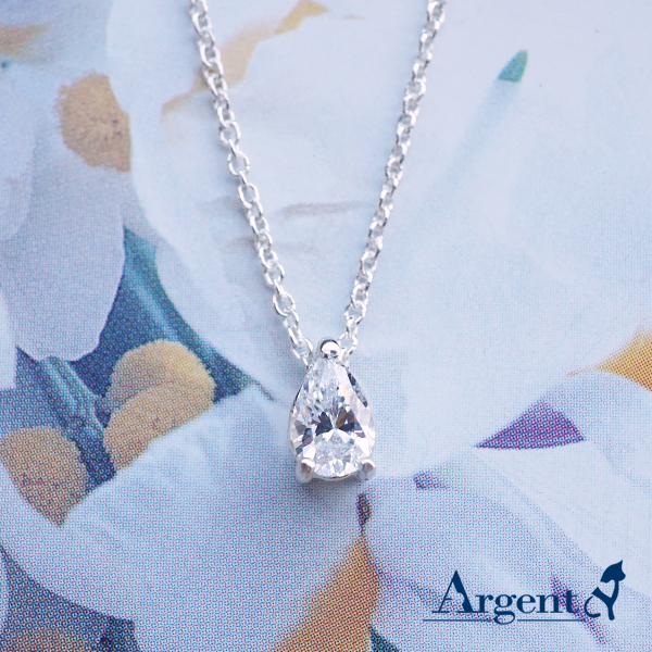 「彩虹之淚-白色鑽」純銀項鍊銀飾