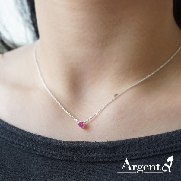 「彩虹之鑽-紅色鑽」純銀項鍊銀飾