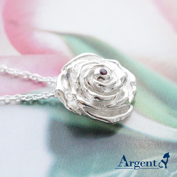 「紅心玫瑰」立體純銀項鍊銀飾