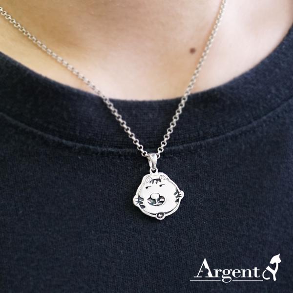 虎斑貓(小虎)-染黑-造型動物雕刻純銀項鍊銀飾
