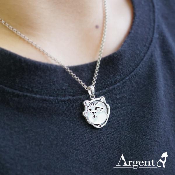 流浪貓虎斑貓媽媽(小花)-染黑-造型動物雕刻純銀項鍊銀飾