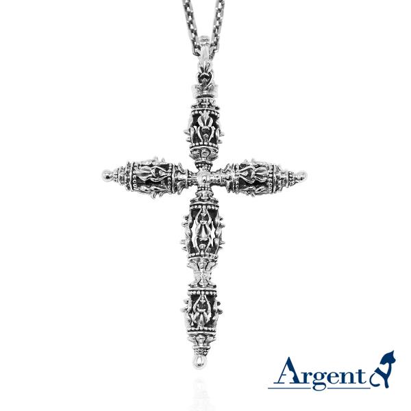 羯摩杵(大長柄十字金剛杵)宗教風格純銀項鍊|銀項鍊推薦