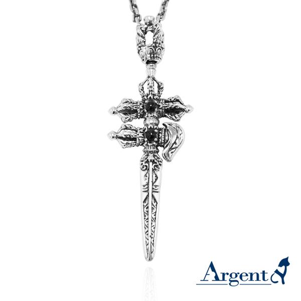 「鉞刀金剛杵-黑瑪瑙」宗教風格純銀項鍊|銀項鍊推薦