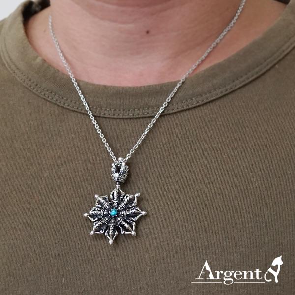 「法輪金剛杵-綠松石」宗教風格純銀項鍊|銀項鍊推薦