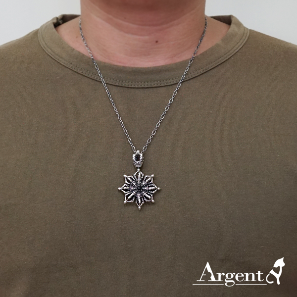「法輪金剛杵-黑瑪瑙」宗教風格純銀項鍊|銀項鍊推薦