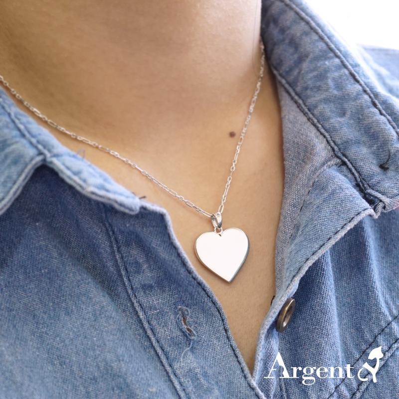 正愛心牌簡約素面純銀項鍊|客製化項鍊刻字訂做