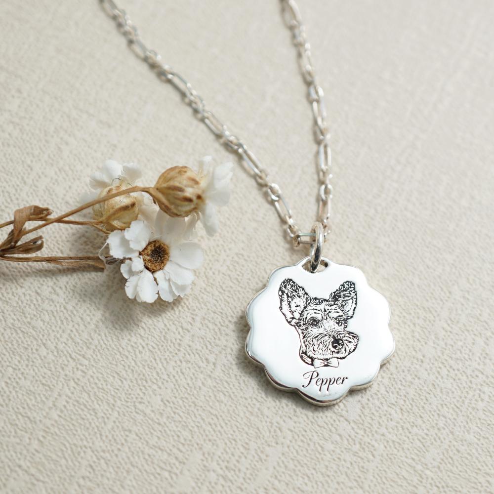 花花牌刻圖照片項鍊銀飾|客製化項鍊刻字訂做