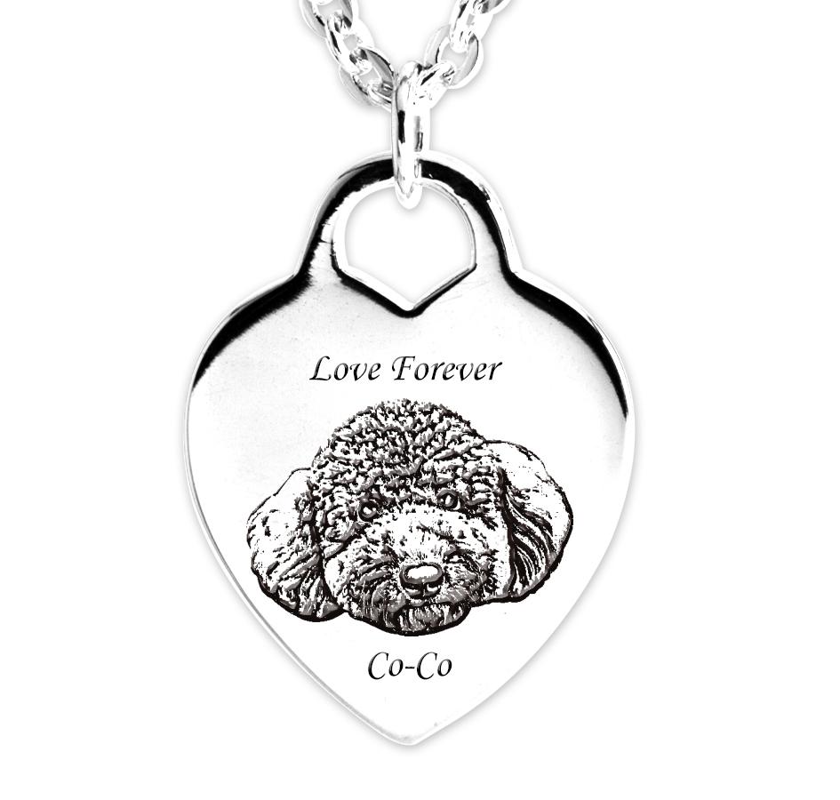 愛心牌刻照片圖項鍊銀飾|客製化項鍊刻字訂做
