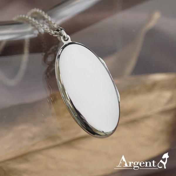 大橢圓平鏡面純銀項鍊銀飾