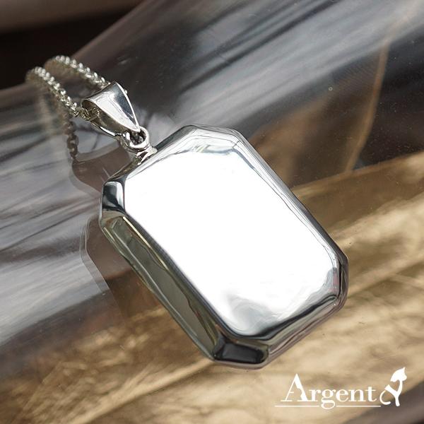 方型大平面純銀項鍊銀飾