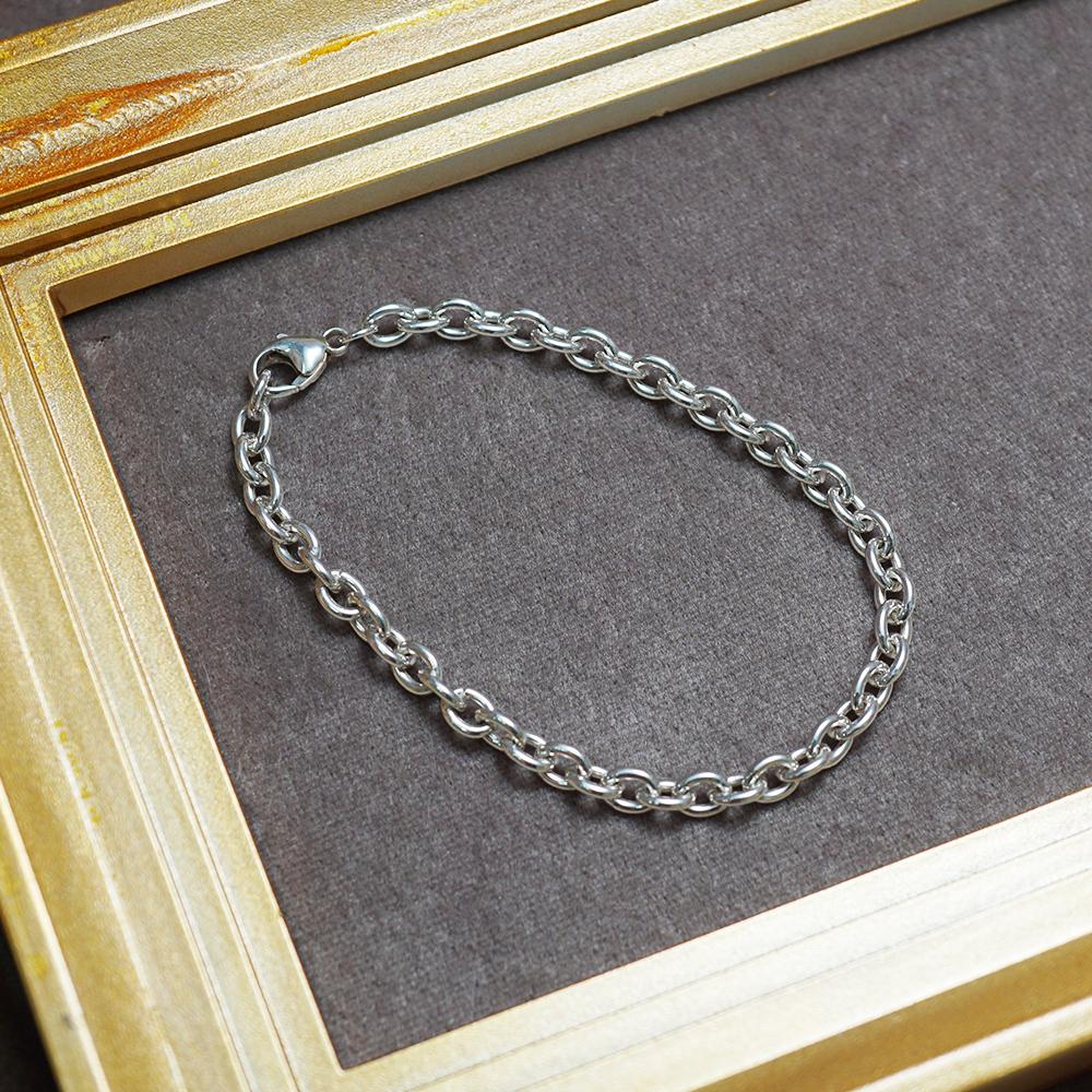 5mm「橢圓鎖鍊」純銀手鍊|925銀飾