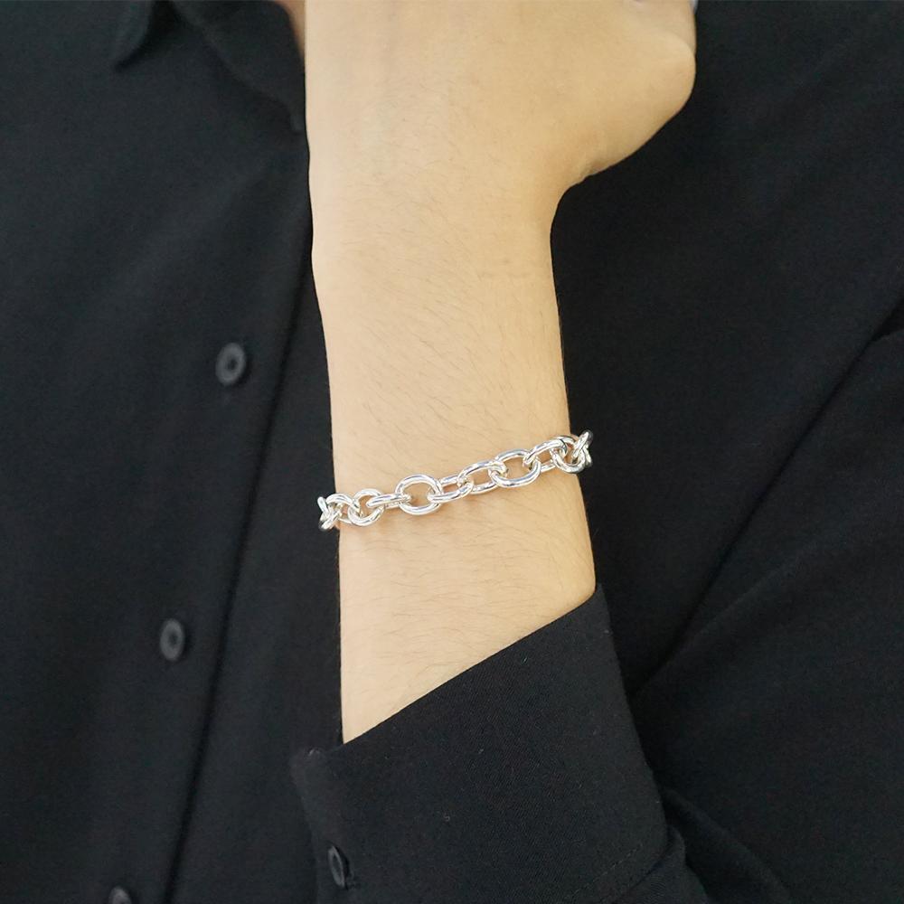 粗版「橢圓鎖鍊」純銀手鍊|925銀飾