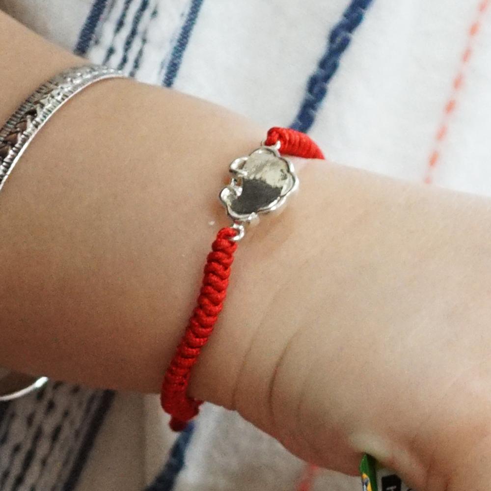 平安鎖(紅線)純銀手鍊(可加購刻字)