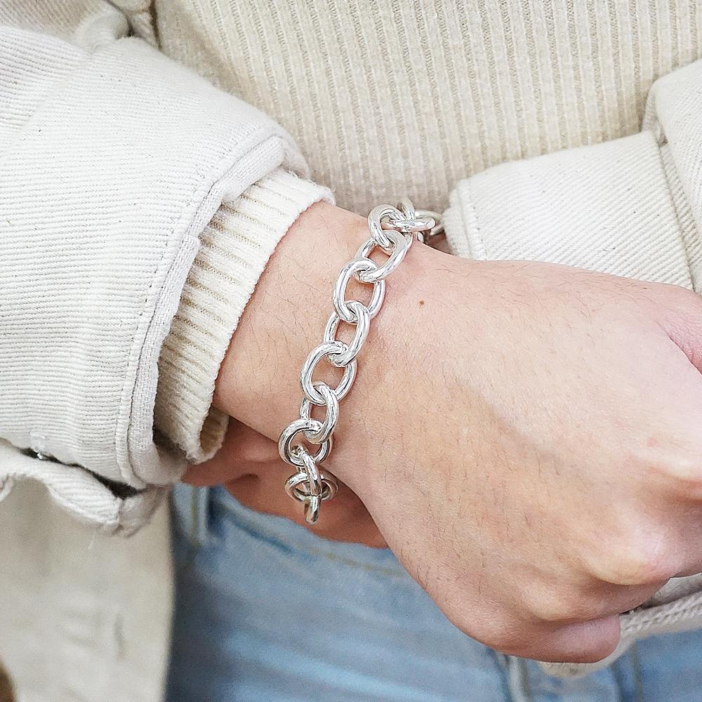 「橢圓鍊11mm」純銀手鍊|925銀飾