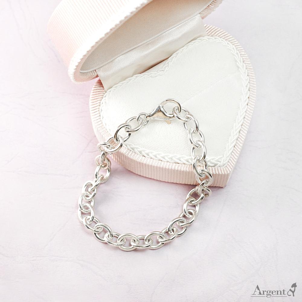 7.5mm「橢圓鍊」純銀手鍊|925銀飾