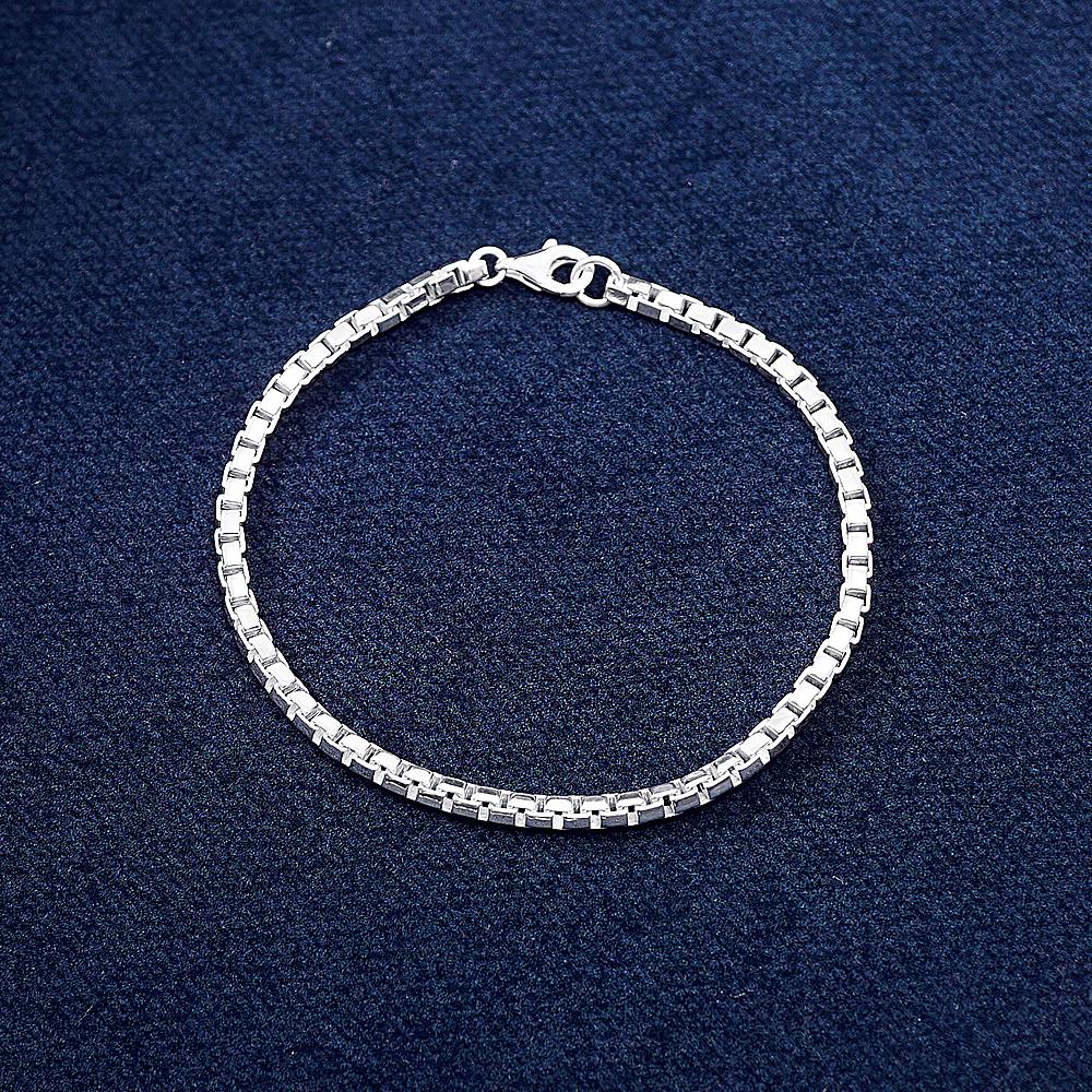 盒子鍊(3mm)造型系列純銀手鍊|925銀飾
