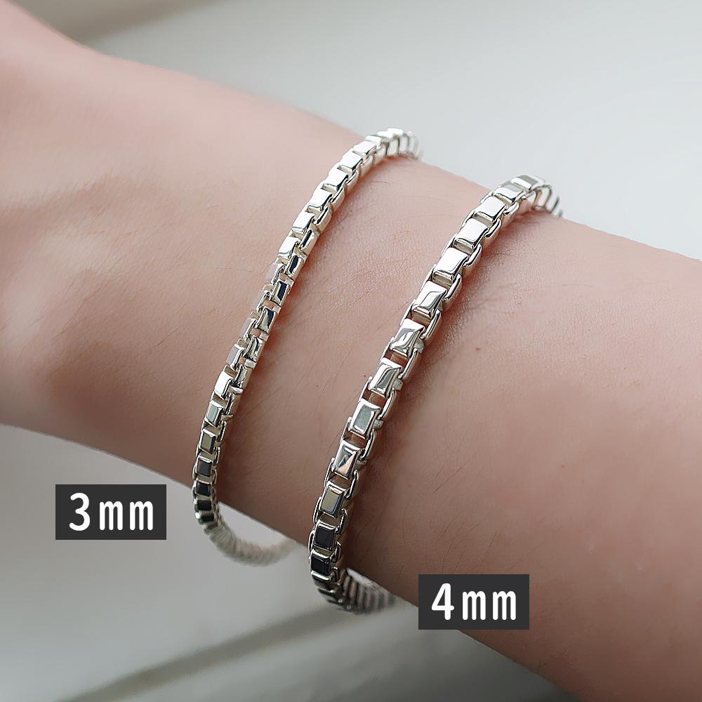 盒子鍊(3mmvs4mm)造型系列純銀手鍊|925銀飾
