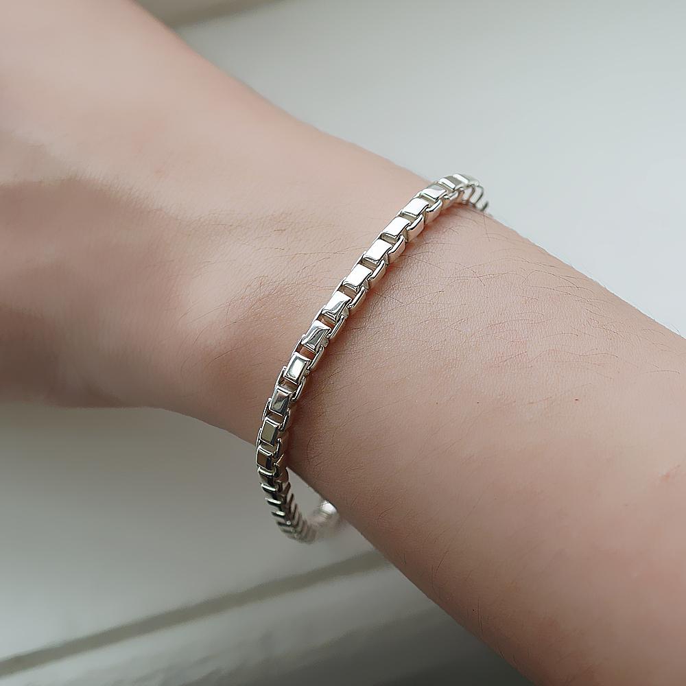 盒子鍊(4mm)造型系列純銀手鍊|925銀飾