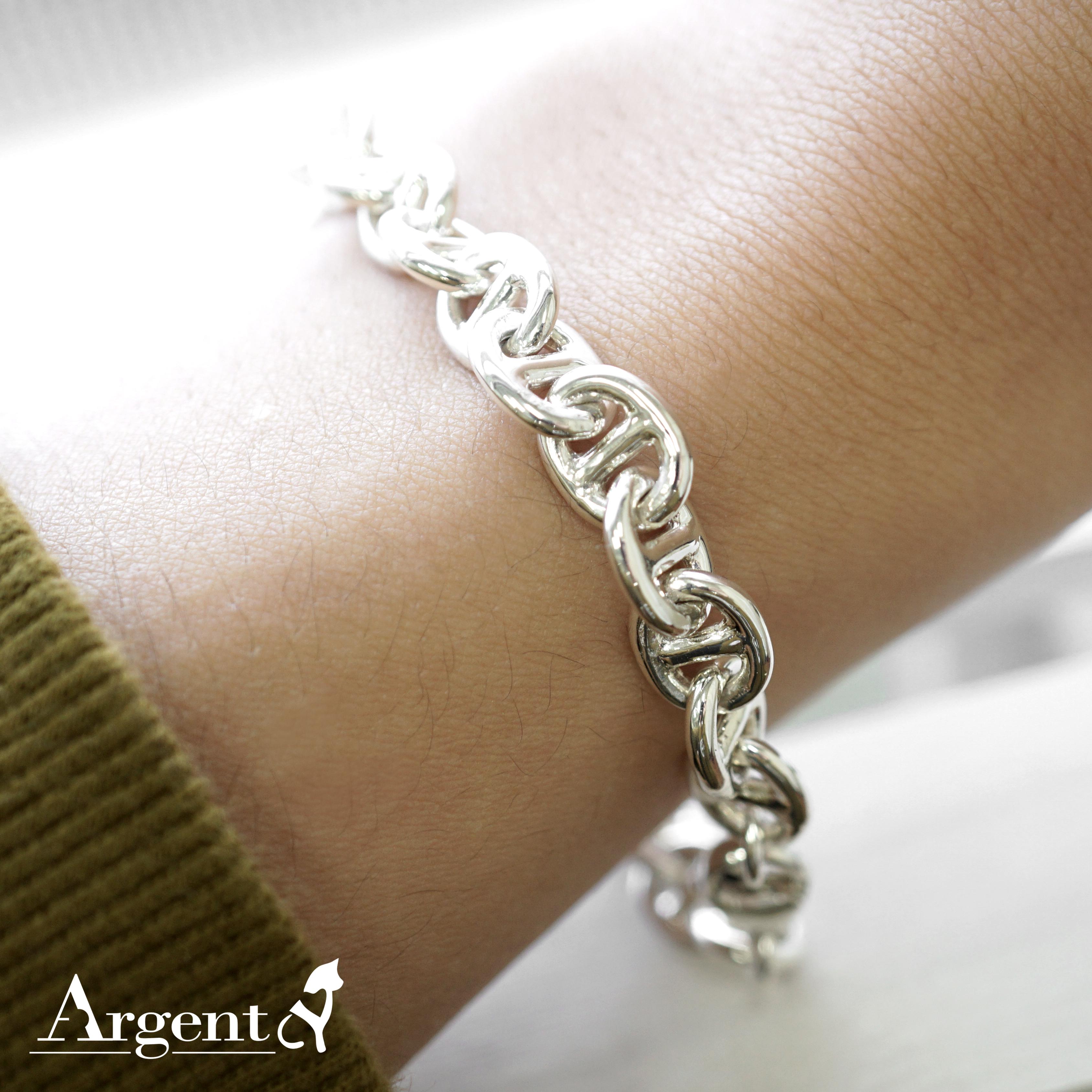 「軍艦(細)」造型純銀手鍊|925銀飾