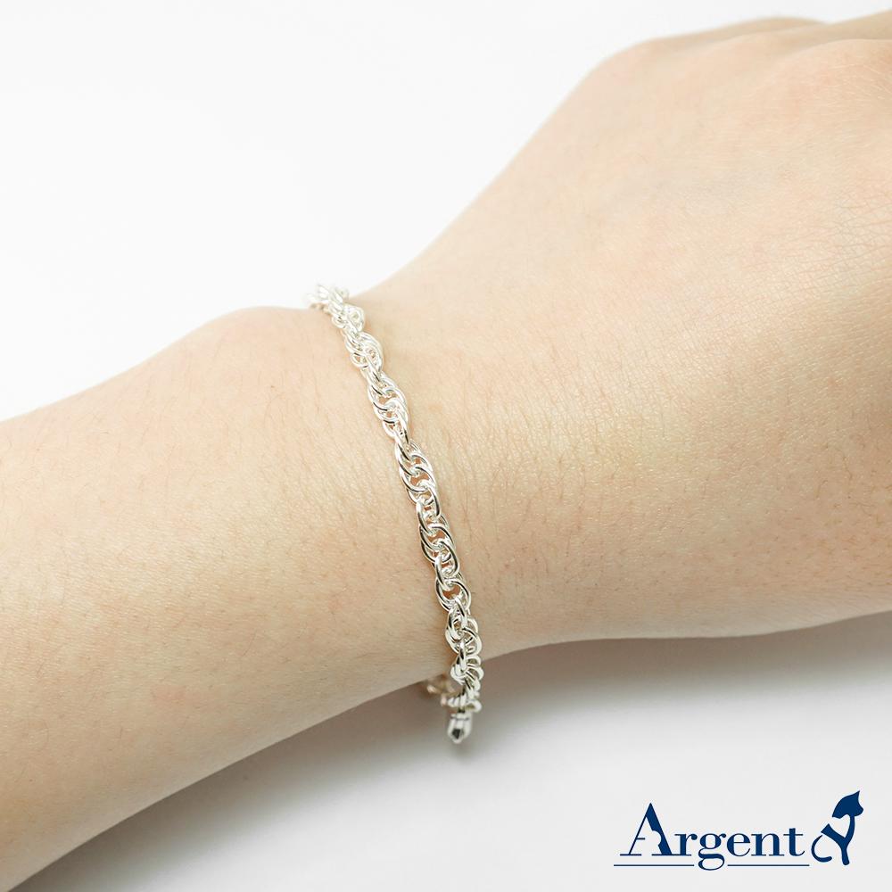 「4mm麻花鍊(細)」造型純銀手鍊|925銀飾