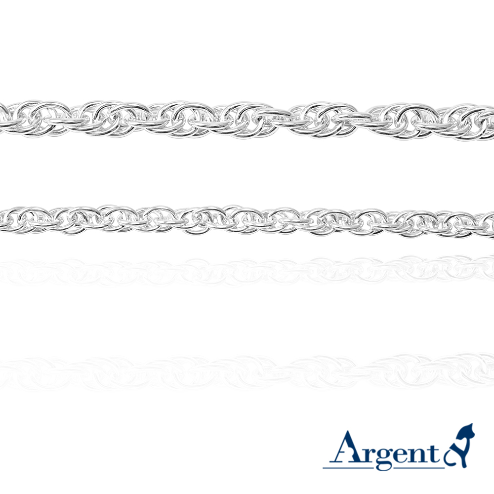 「4mm麻花鍊(細)+5.5mm麻花鍊(粗)」造型純銀手鍊|925銀飾