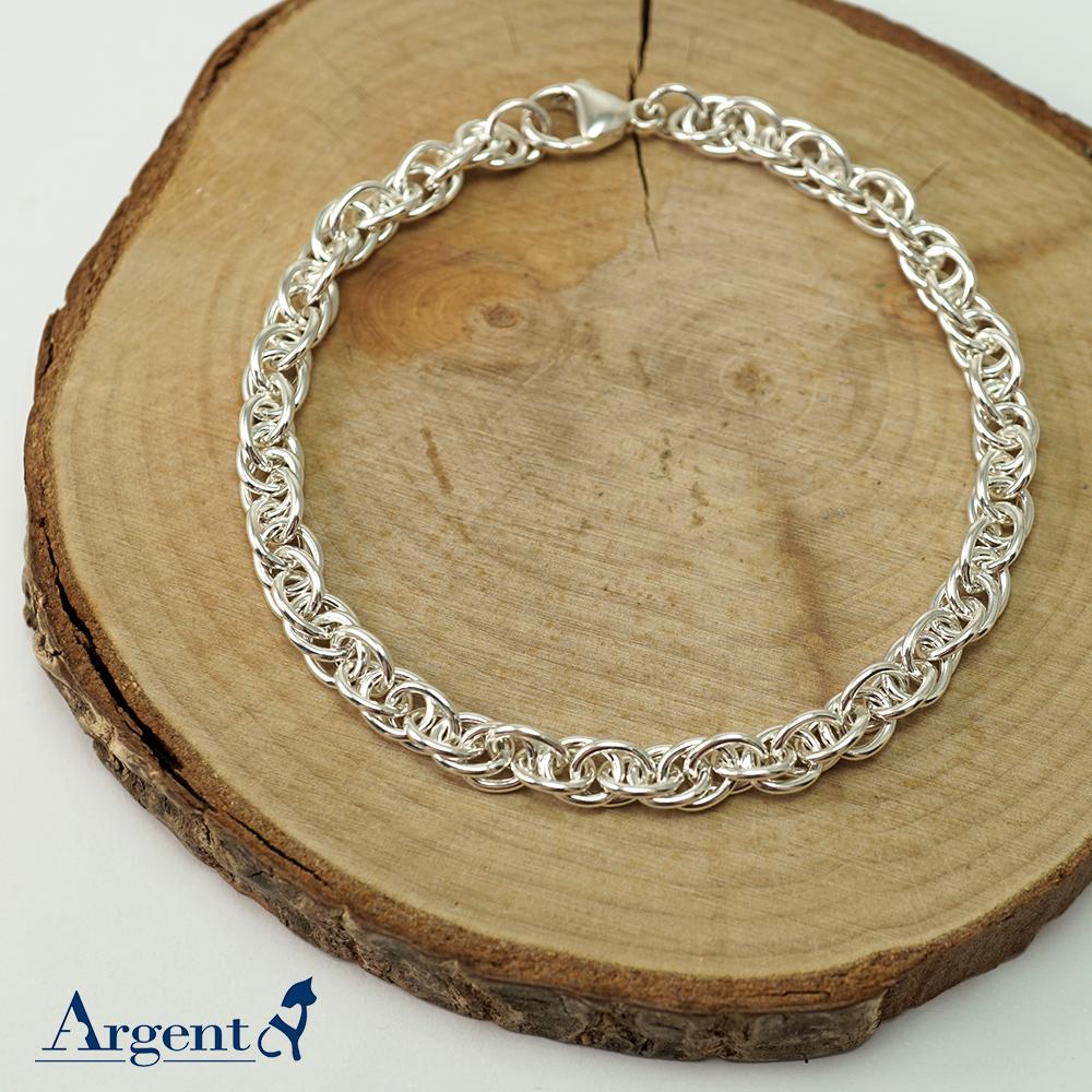 「5.5mm麻花鍊(粗)」造型純銀手鍊|925銀飾