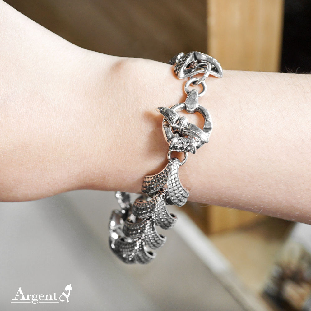 「龍麟(T扣)」鱗片造型純銀手鍊|925銀飾