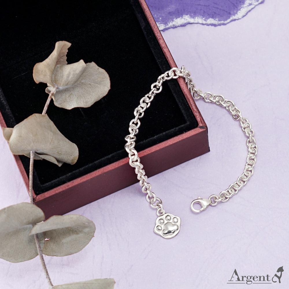 貓奴療癒係「迷你貓掌」造型純銀手鍊|925銀飾