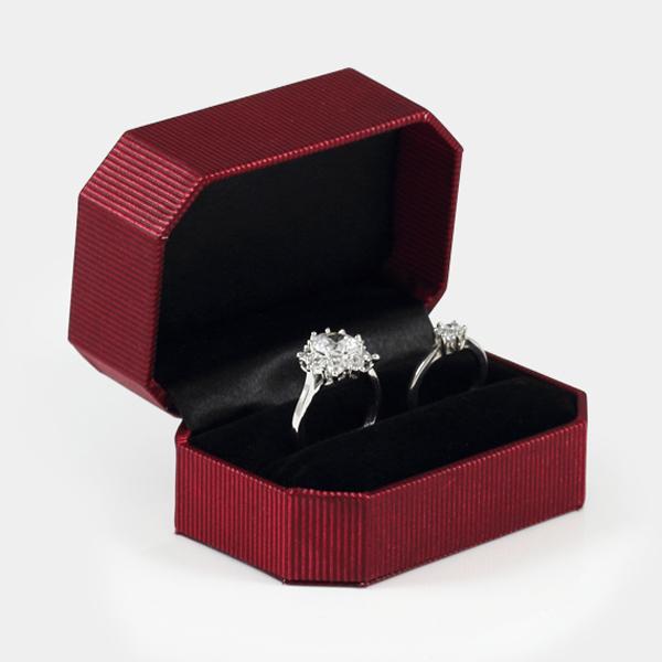 八角緞帶對戒盒(藍/紅)(黑底)禮盒適用|收納首飾盒