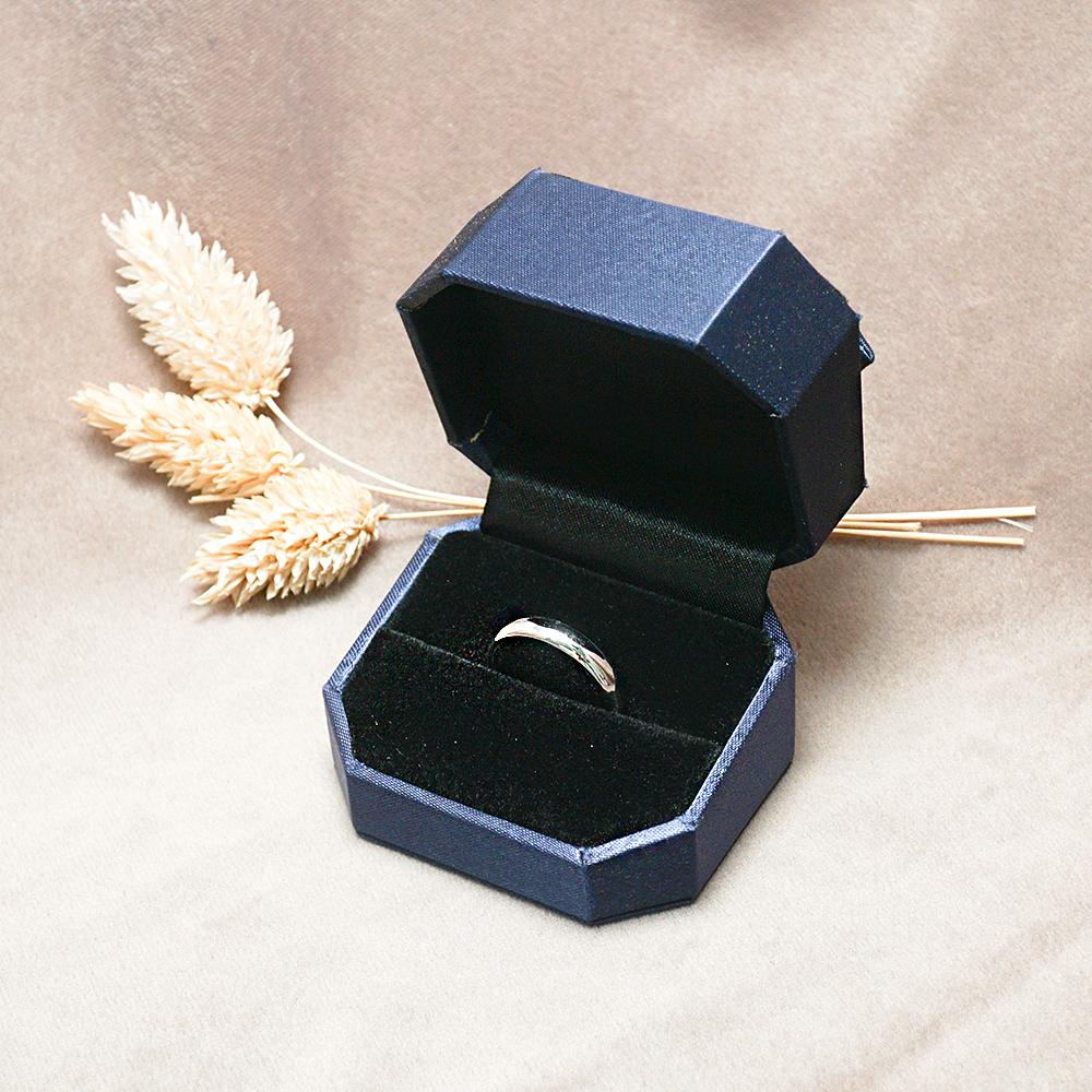 八角緞帶單戒盒(藍)(黑底)禮盒適用|收納首飾盒