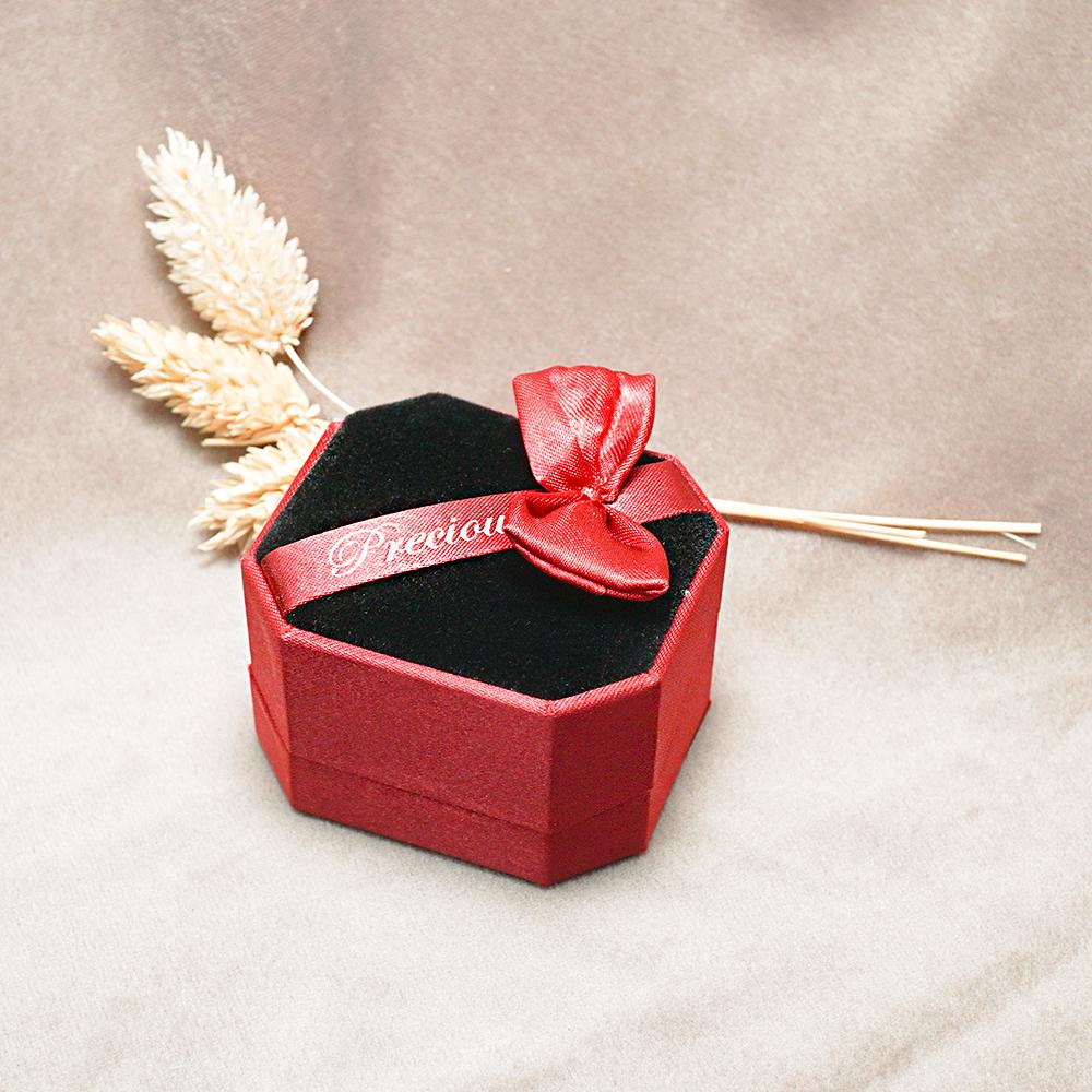 八角緞帶對戒盒(紅)(黑底)禮盒適用|收納首飾盒