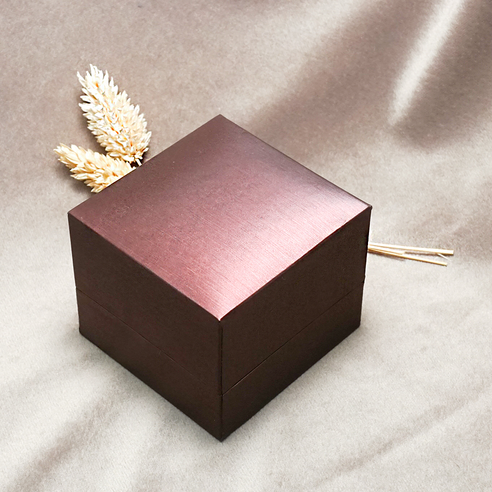 求婚戒指盒|紅拉絲單戒盒(外紫)