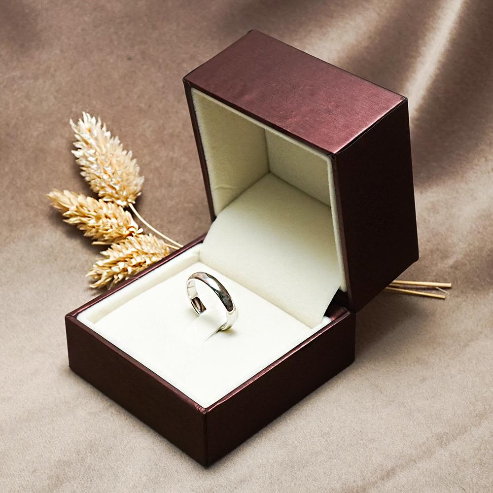 求婚戒指盒-紅拉絲單戒盒(外紫內咖)