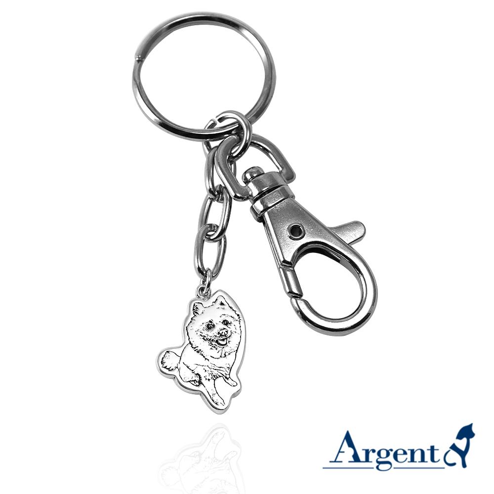 純銀-寵物外型-雙面照片雷刻圖鑰匙圈銀飾|雷刻照片+手工鋸(平面)|客製化項鍊刻字訂做