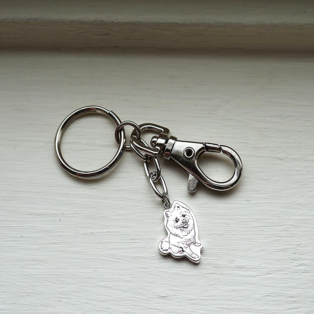 純銀-寵物外型-照片雷刻圖鑰匙圈銀飾|雷刻照片+手工鋸(平面)|客製化項鍊刻字訂做