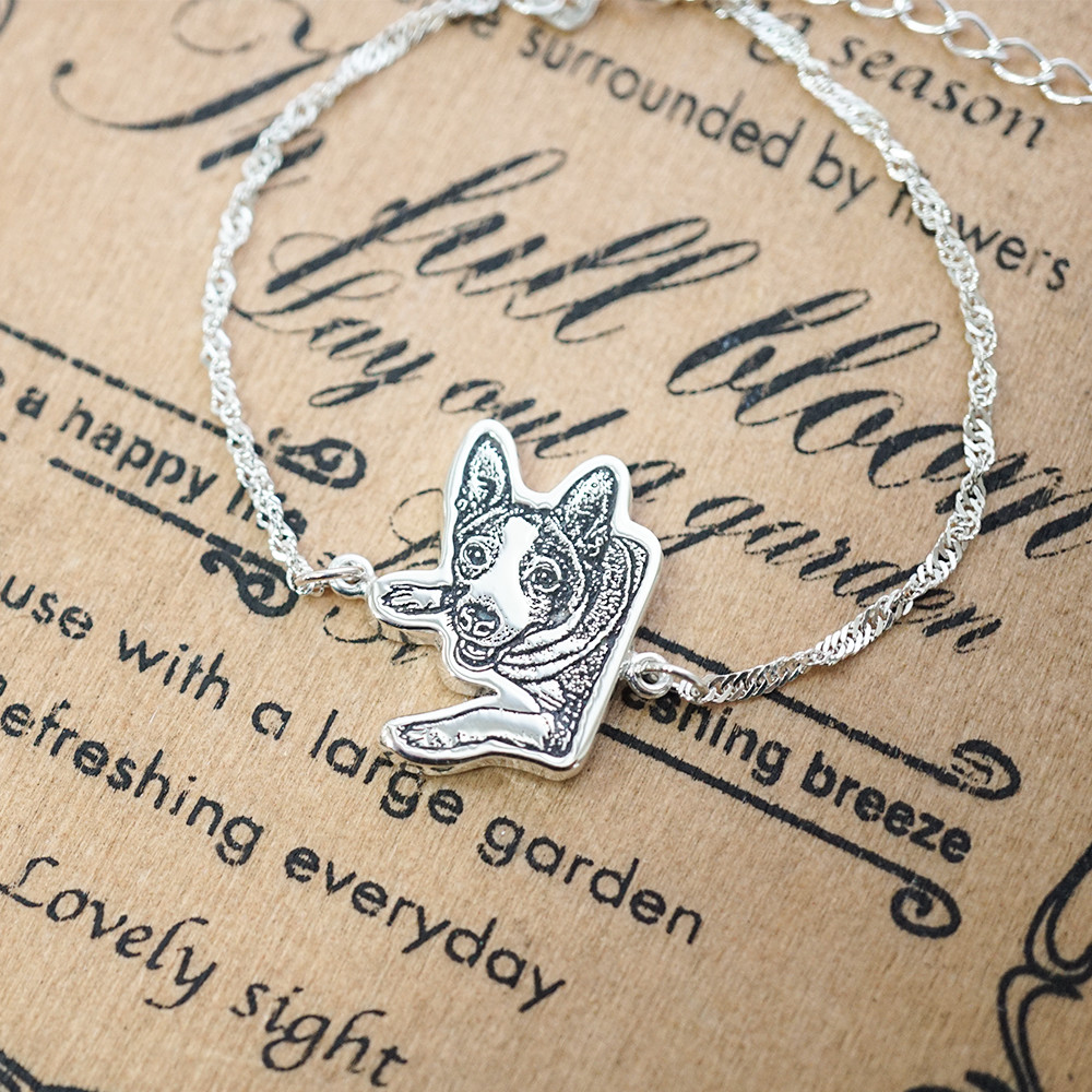 純銀-寵物外型-單面照片雷刻圖手鍊銀飾|雷刻照片+手工鋸(平面)|客製化項鍊刻字訂做