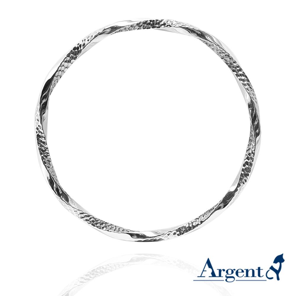 「扭紋烙印(粗)」無開口手工製作純銀手環