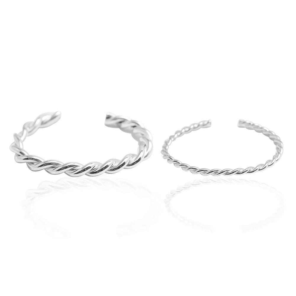 「扭紋(粗/細)」手作風格純銀手環|925銀飾