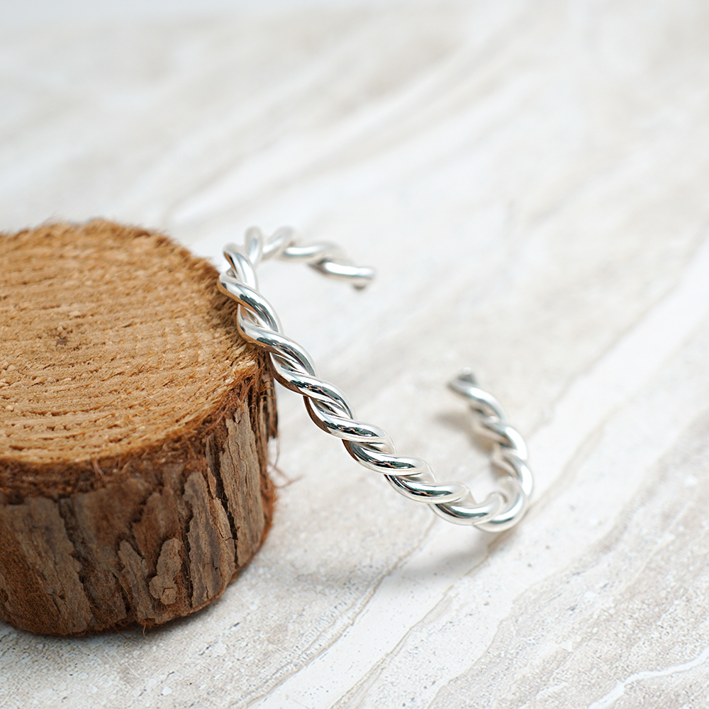 「扭紋(粗)」手作風格純銀手環|925銀飾