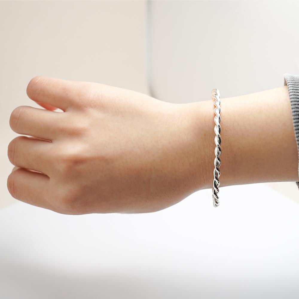 「扭紋」手作風格純銀手環|925銀飾