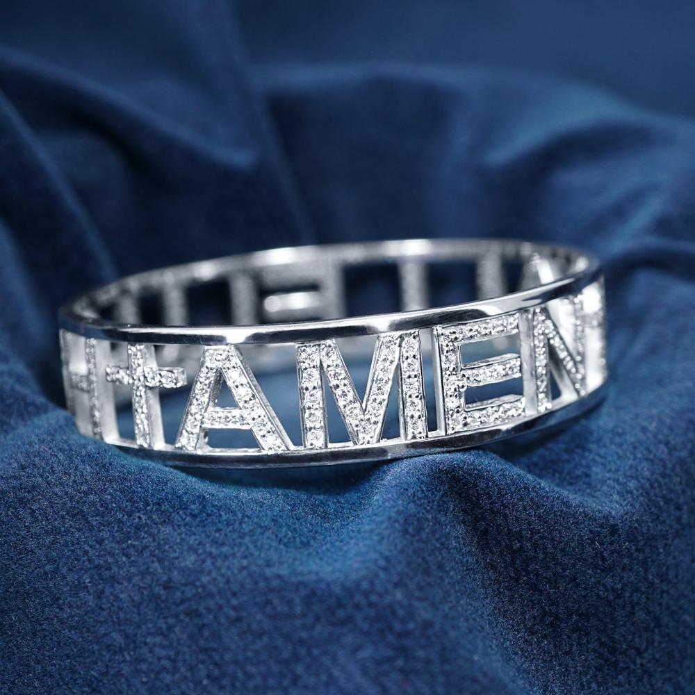 滿鑽英文密碼純銀戒指|客製化手環